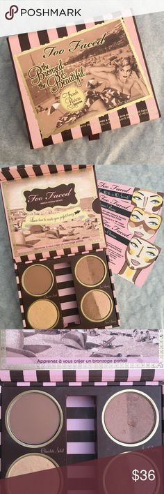 """Too Faced """"Bronzed and Beautiful""""French Riviera Ed Too Faced """"The Bronzed and the Beautiful-French Rivera Edition"""".  Contains four bronzers-Chocolate Soleil, Sun Bunny, Snow Bunny and Powdered Sun. Approximately 95% of product left. Please see photos for usage. No brush or box but does include three look cards.   Please ask any questions you may have prior to purchase!! Too Faced Makeup Bronzer"""
