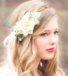 natural pine cone rose floral hair crown
