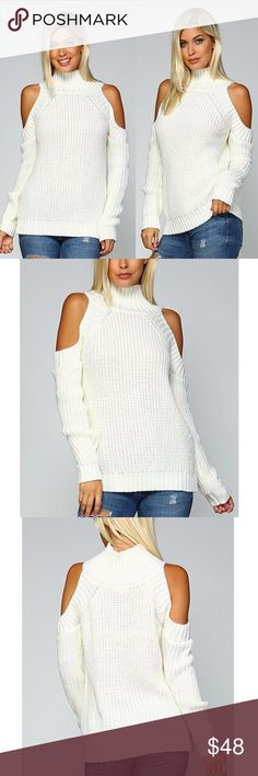 DEE Turtle Neck Cold Shoulder Sweater - WHITE Turtle Neck Cold Shoulder Sweater   Fabric 100% ACRYLIC  NO TRADE, PRICE FIRM Bellanblue Tops Tees - Long Sleeve