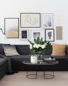 47 Extraordinary Black Living Room Designs That Never Go Out Of Fashion - A living room consists of sofa that has 3 seats or the sofa that has 2 seats. This is one of the most common looks of a room. To make it more unique y. Couches Living Room Apartment, Apartment Living Room Design, Living Room Designs, Apartment Living Room, Couch Decor, Couches Living Room, Black Couch Living Room, Living Room Decor, Room Decor