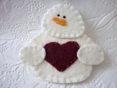 Felt Snowman Ornament Felted Wool Felt by pennysbykristie on Etsy, by MistyLane