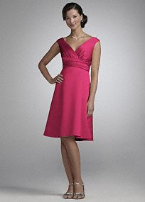 Retro refinement for modern weddings and parties. This short, off-the-shoulder dress features cap sleeves, a surplice bodice and ruched waist. Universally flattering, A-line design is available in a vivid palette of rich satin. Fully lined. Back zip. Imported polyester. Hand wash or dry clean. To protect your dress, try our Non Woven Garment Bag. Please Note- Sale pricing varies according to color. Please click color and size to view pricing. *SPECIAL VALUE! Was $120.00, Now $79.99!An open…