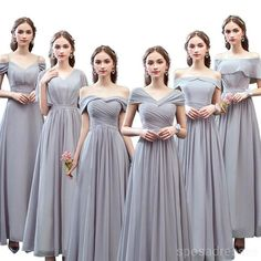 Grey Floor Length Mismatched Chiffon Cheap Bridesmaid Dresses Online, – SposaDresses