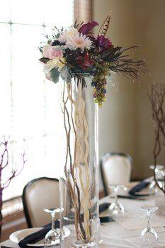 Wedding, Flowers, Purple, Black, Dark, Tall, Feather, Moda floral event design