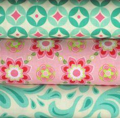 Pink and Blue One Yard Fabric Bundle Blue Raspberry