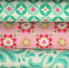 Pink and Blue One Yard Fabric Bundle Blue Raspberry