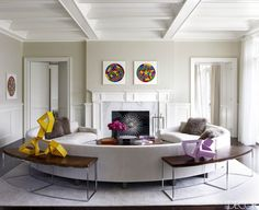 Living Room | Fireplace Ideas | Tamara Mellon | Fashion Designer | Hamptons House | Home Decor