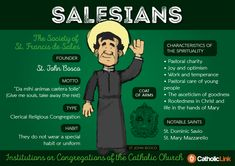 Catholic quotes, infographics, memes and more resources for the New Evangelization. Gallery: Religious Congregations of the Catholic Church. Catholic Orders, Catholic Religious Education, Catholic Religion, Catholic Quotes, Catholic Saints, Roman Catholic, Catholic Catechism, Becoming Catholic, St John Bosco