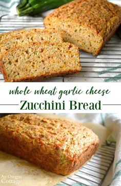 A whole wheat savory zucchini bread flavored with two cheeses, garlic and herbs - perfect for toasting for appetizers as well as to serve with meals. Savory Zucchini Bread, Zuchinni Bread, Zucchini Cheese, Garlic Cheese, Cheese Bread, Healthy Picnic Foods, English Muffin Bread, Cheese Recipes, Favorite Recipes
