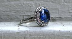 Vintage 14K White Gold Diamond Halo and Sapphire Engagement Ring with GIA Cert.- 4.19ct.