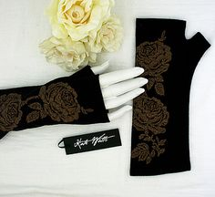 Black Merino Fingerless Gloves with Rose Print in Gold Ink -- Fingerless Mittens,merino wool gold rose Steampunk Belle, Fingerless Mittens, Gold Ink, Merino Wool, Rose Gold, Trending Outfits, Unique Jewelry, Handmade Gifts, Vintage