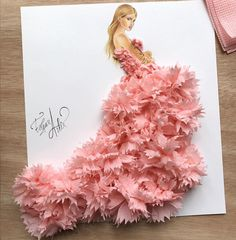 Tissue art dress fashion sketch by Edgar Artis. Arte Fashion, Paper Fashion, 3d Fashion, Flower Fashion, Dress Fashion, Fashion Illustration Sketches, Illustration Mode, Fashion Sketches, Illustrations
