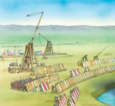 Trebuchets in action at a siege