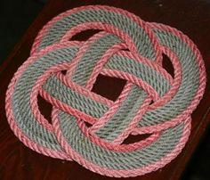 Red & Gray Trivet Round Rope Trivet Nautical by AlaskaRugCompany, $25.00