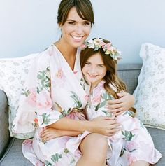 Matching Mommy daughter Plum Pretty Sugar robes in Persimmon Hears Her Wish
