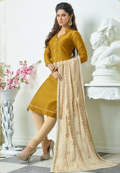 Vibrant Mustard & Cream Salwar Suit Dress Material-1007.