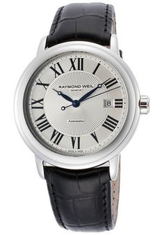 Men's Maestro Automatic Silver Textured Dial Black Genuine Leather 41mm $645