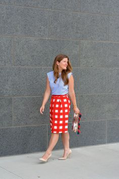 A-line skirt with blue top
