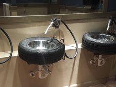 Petro-head themed washroom (Ford's Garage Restaurant)