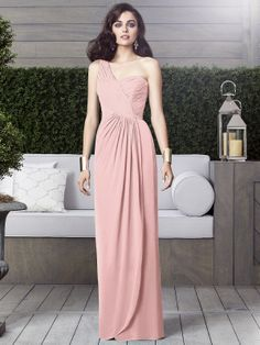 Full length one shoulder lux chiffon dress w/ draped bodice and side slit detail at front of shirred skirt. Sizes available: 00-30W, and 00-30W Extra Length.
