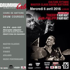 "Wednesday, April 6th, 2016 h.20,30 in Paris at Drumming Lab - 9 rue de L'Éperon - Masterclass ""Culture Rythme"" with Thierry Fanfant #bassplayer and Jean-Philippe Fanfant #drummer . #DrummingLab #Frederick #Rimbert"