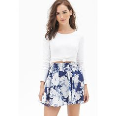 Forever 21 Women's  Floral Print Organza Skirt ($25) ❤ liked on Polyvore featuring skirts, mini skirts, white skirt, mini skirt, forever 21 skirts, short mini skirts and white mini skirt