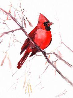 Red Cardinal original watercolor painting 12 X 9 by ORIGINALONLY, $42.00