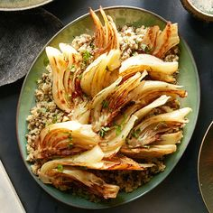 Vegetarian #Thanksgiving Menu, ENTREE | Braised Fennel with Quinoa #RRMenuPlanner