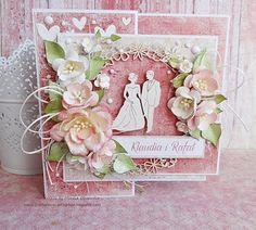 Papierowa przystań: Ślub... Anniversary Cards, Wedding Anniversary, Wedding Cards Handmade, Anna Griffin, Graphic 45, Flower Cards, Cute Cards, Cardmaking, Behind The Scenes