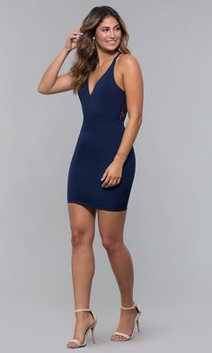 Lace-Racerback Short V-Neck Homecoming Dress - Homecoming Dresses Sexy Dresses, Cute Dresses, Dress Outfits, Short Dresses, Party Dresses, Dress Shoes, Shoes Heels, Bodycon Cocktail Dress, Bodycon Dress