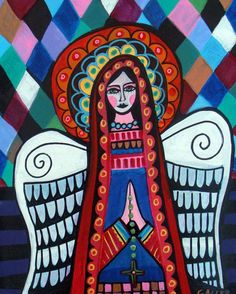 Virgin Of Guadalupe Art Angel Poster Print Painting Harlequin Mexican Folk Art
