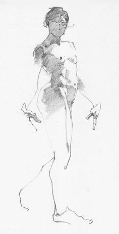 Aaron Coberly minimalist quick sketch of walking/standing nude female anatomy. aaroncoberly.com