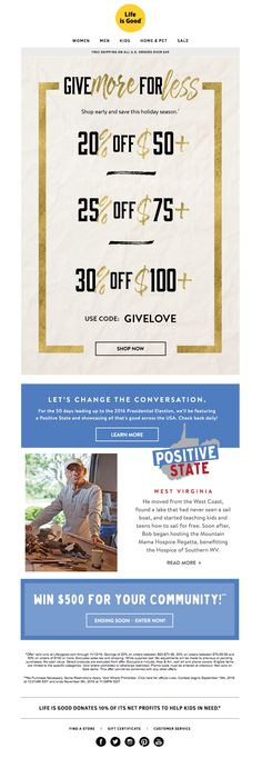 This newsletter from Life is Good makes it easy for customers to see how much they'll save with each purchase.