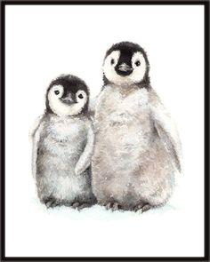 Little Penguins 1 Nursery Art Antarctic Animals Polar Penguin Watercolor, Penguin Drawing, Penguin Art, Baby Drawing, Watercolor Animals, Animal Paintings, Animal Drawings, Cute Drawings, Pinguin Illustration