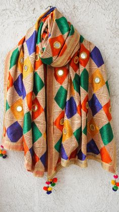 Bagh Multicolored Phulkari Parantha Embroidery with Mirrorwork Dupatta