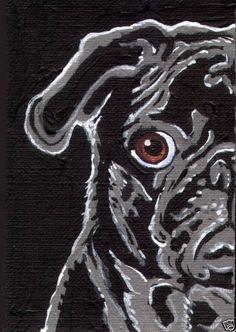 8x10 BLACK PUG Dog Pop Art PRINT of Painting by VERN | eBay