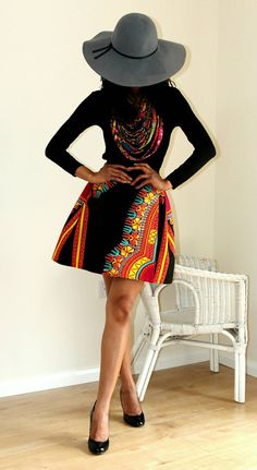 Black wrap skirt African print skirt Dashiki by FreedomCountryGH