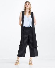 Image 2 of CROPPED HIGH WAISTED TROUSERS from Zara
