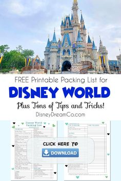 This FREE Disney World Printable packing list will make packing and planing for your vacation so easy! Also, there are tons of packing tips and Disney World tips too! Disney World with kids. Disney World packing list. Disney Packing list. Disney packing list for families. Disney World packing list for kids. #disney #disneyworld #disneypackinglist Disneyworld Packing List, Disney World Packing, Disney World Vacation Planning, Walt Disney World, Disney World Tips And Tricks, Disney Tips, Disney Resorts, Disney Vacations, Printable Packing List