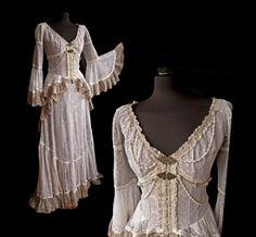 Victorian lace dress, cottage chic, steampunk, western, Jane Austen, size M, beige, ivory, Somnia Romantica by Marjolein Turin
