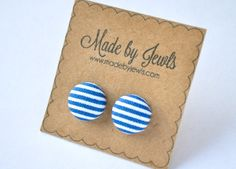 Fabric Covered Button Earrings - Navy Stripe - Buy 3, get 1 FREE by jewlswashere on Etsy
