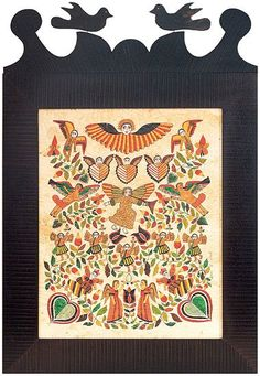 I discovered these pieces this afternoon and fell in love. Folk art artist Susan Daul creates simple framed artworks called Fraktur. Fraktur are a highly artistic and elaborate 18th century and 19t...
