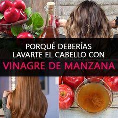 lavar-el-cabello-con-vinagre-de-manzana Skin Tag, Going Gray, Warts, Mole, Natural Remedies, Curly, Hair Beauty, Hairstyle, Health