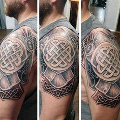 Mens Armor Celtic Knot Upper Arm And Shoulder Tattoo