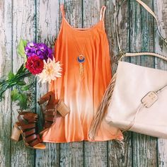 Our vacay ready look!  || Beach Vibes Ombre Shift Dress $34 || Flashing Lights Tassel Necklace $18 || Upper West Side Bag $54 || Munchkin Heel By @bcfootwear $79 || #ShopImpressions #BCstyle #MustHave #Vacay #SummerTime #Ombre
