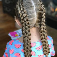 Double 5 Strand Dutch braids for school 📚 Hairstyles For School, Girl Hairstyles, Braided Hairstyles, Four Strand Braids, Hair Today Gone Tomorrow, Braided Ponytail, Braid Hair, Boxer Braids, Dutch Braids