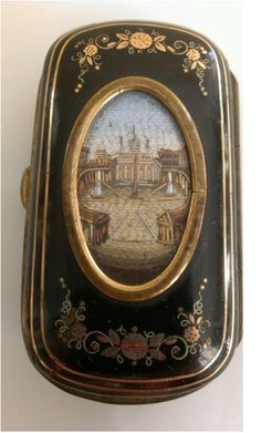 "Micromosaic and enameled ""Match Safe"" or holder..."