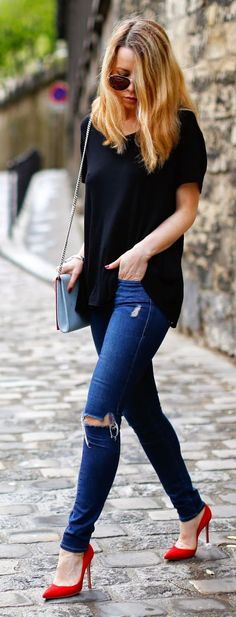 What to Wear with Red Heels? Outfit Ideas for Red Pumps Red Pumps Outfit, Heels Outfits, Cool Outfits, Casual Outfits, Fashion Outfits, Red Outfits, Amazing Outfits, Women's Fashion, Look Office