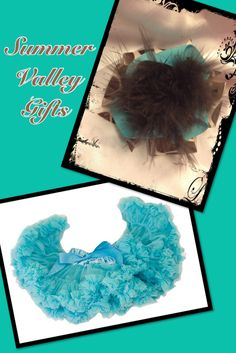 Turquoise Pettiskirt and Hairbow, great prices on the combo!