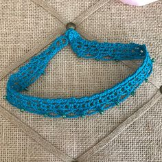 Turquoise Choker Handmade Crochet Blue with by CreoCrochet